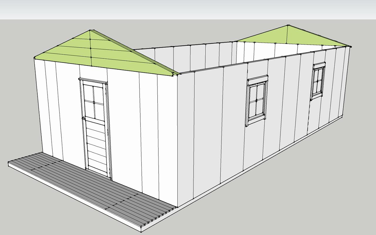 梁パネルとは、三角形のパーツで屋根の勾配を付けるための部材です。