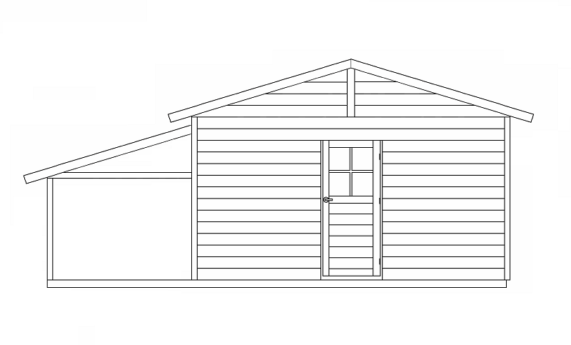 建物の軒先下に片屋根を取り付けて、テラスを増設したアイデアを見たことがあります。