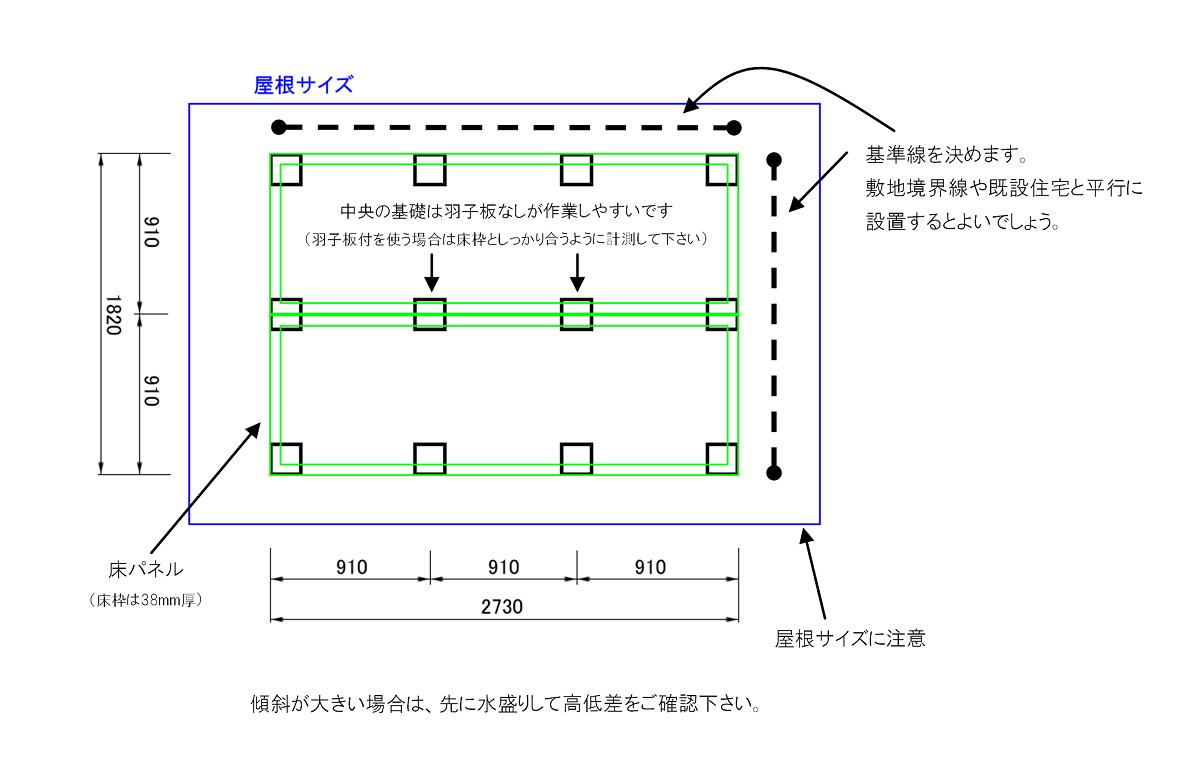 独立基礎の作り方を1.8×2.7mの小屋で解説します。