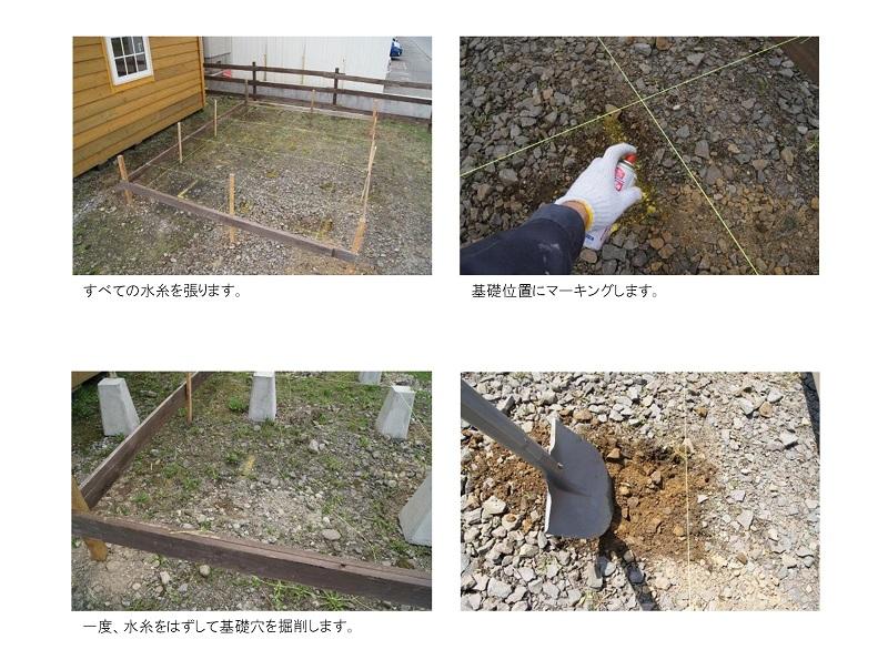 すべての水糸を張り基礎位置にスプレーでマーキングし、一度、水糸をはずして基礎穴を掘削します。